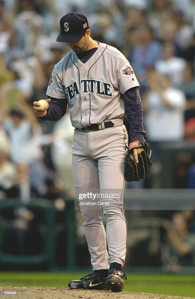 Paul Abbott of the Seattle Mariners waits to pitch after giving up a home run to Jim Thome of the Cleveland Indians in the sixth inning during game...