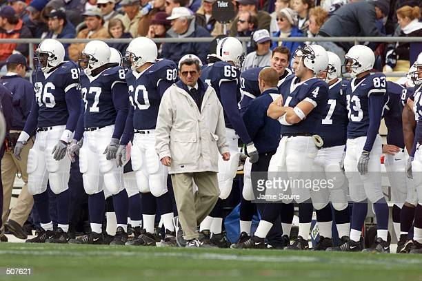 Penn State head coach Joe Paterno walks the sideline during the game against Ohio State at Beaver Field in State College Pennsylvania Penn State won...