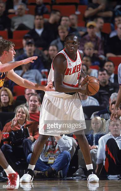 Portland Trailblazers forward Zach Randolph holds the ball in the post during the preseason game against the Golden State Warriors at the Rose Garden...