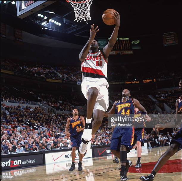 Portland Trailblazers forward Zach Randolph shoots a layup during the preseason game against the Golden State Warriors at the Rose Garden in Portland...