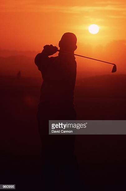 Silhouette of Lee Westwood in action during the inaugural Dunhill Links Championships at Kingsbarns Carnoustie and St Andrews in Scotland Mandatory...
