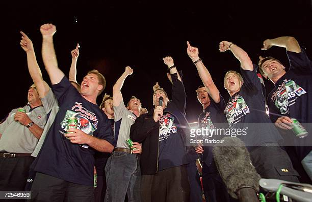 The Knights celebrate with the fans after the Knights arrive at Marathon Stadium to celebrate after the Newcastle Knights won the NRL Premiership in...