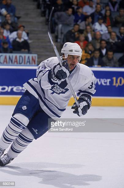 Travis Green of the Toronto Maple Leafs skates into position during the game against the Mighty Ducks of Anaheim at the Air Canda Centre in Toronto...