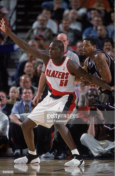 Zach Randolph of the Portland Trail Blazers blocks during the preseason game against the Sacramento Kings at the Rose Garden in Portland Oregon NOTE...