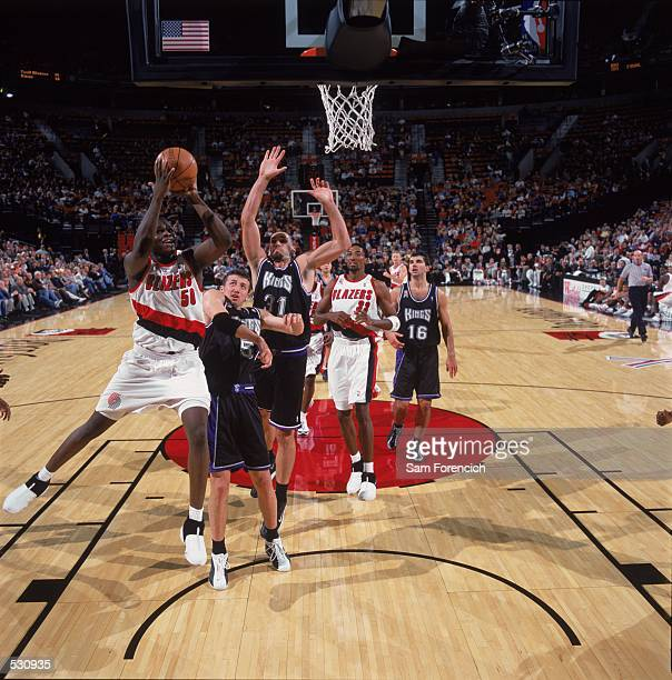 Zach Randolph of the Portland Trail Blazers takes a shot during the preseason game against the Sacramento Kings at the Rose Garden in Portland Oregon...