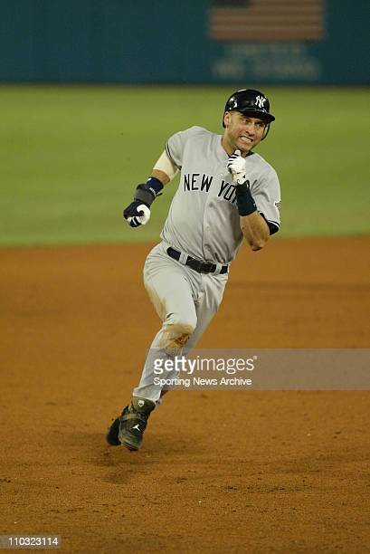 Derek Jeter of the New York Yankees during the Yanks' 64 loss to the Florida Marlins in game 5 of the World Series at Pro Player Stadium in Miami FL