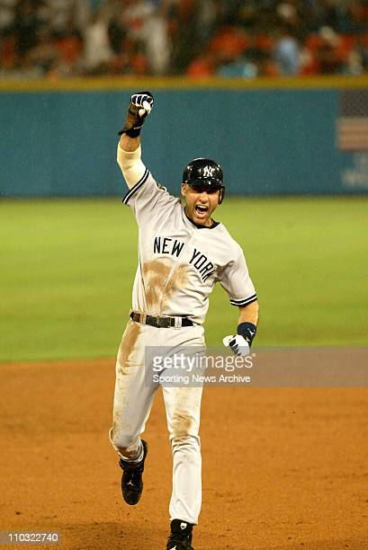 Derek Jeter of the New York Yankees reacts during the Yanks' 61 victory over the Florida Marlins in game 3 of the World Series at Pro Player Stadium...