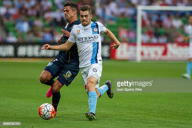 Ben Garuccio of Melbourne City and Fabio Ferreira of the Central Coast Mariners contest the ball during the 3rd round of the 201516 Hyundai ALeague...