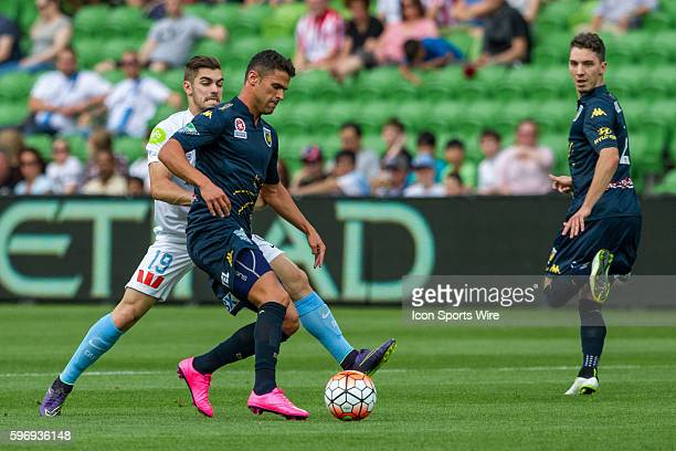 Fabio Ferreira of the Central Coast Mariners and Ben Garuccio of Melbourne City contest the ball during the 3rd round of the 201516 Hyundai ALeague...