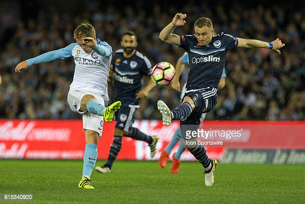 Manny Muscat of Melbourne City and Beast Berisha of Melbourne Victory contest the ball during the 2nd Round of the 201617 ALeague Season between...