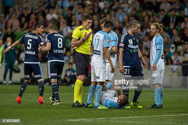 Manny Muscat of Melbourne City is told by the umpire to get up from lying on the field during the Semifinal of the 2016 FFA Cup between Melbourne...