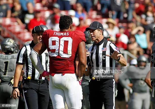 Stanford DE Solomon Thomas questions a call by the referees during the Pac12 game between the Buffaloes and Cardinals at Stanford Stadium in Palo...
