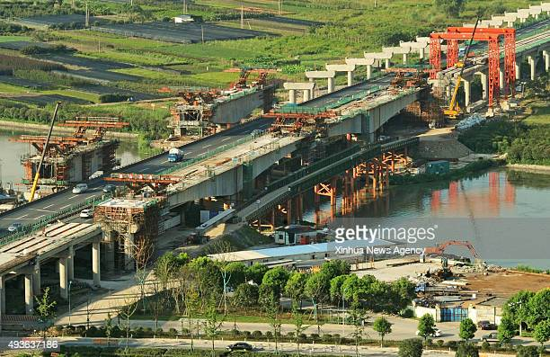 HANGZHOU Oct 21 2015 The expansion and reconstruction of the Hangjinqu Highway is underway in Shaoxing east China's Zhejiang Province July 25 2015 In...