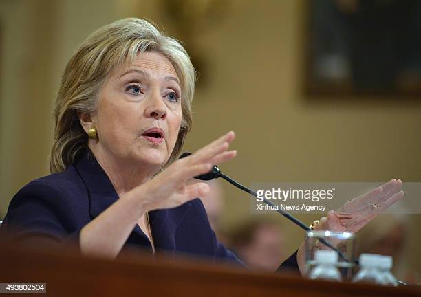 C Oct 22 2015 Democratic presidential candidate and former Secretary of State Hillary Clinton testifies before the House Select Committee on Benghazi...