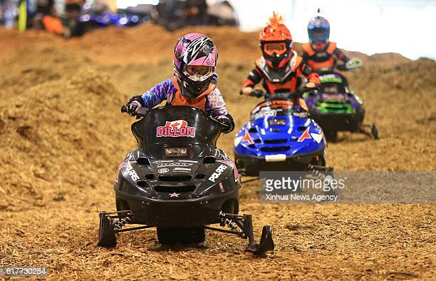 Young riders compete during the Mini ATV Race at the 2016 Toronto International Snowmobile ATV Powersports Show in Toronto Canada Oct 22 2016