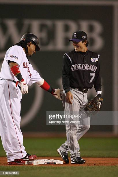 Oct 24 2007 Boston Massachusetts USA Colorado Rockies KAZUO MATSUI and the Boston Red Sox MANNY RAMIREZ joke with each other during the first game of...