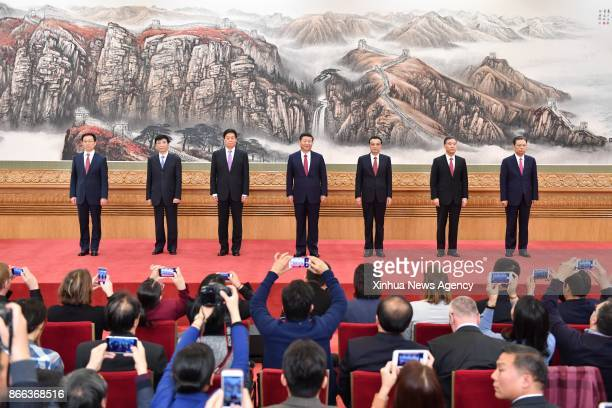 BEIJING Oct 25 2017 Xi Jinping general secretary of the Central Committee of the Communist Party of China and the other newlyelected members of the...