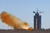 JIUQUAN Oct 26 2015 A Long March2D carrier rocket carrying the Tianhui1C mapping satellite blasts off from the launch pad at the Jiuquan Satellite...