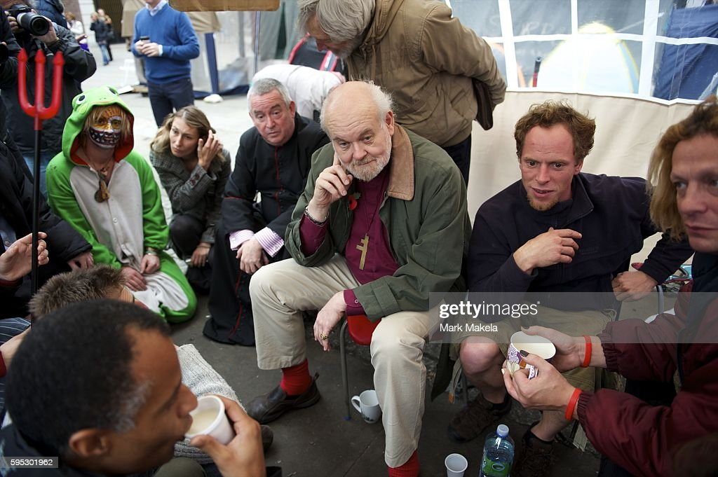 Oct 30 2011 London England UK Bishop of London RICHARD CHARTES and Dean of St Paul's Cathedral PAUL KNOWLES met with protestors over tea in their...