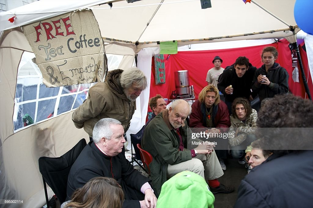 Oct 30 2011 London England UK Bishop of London RICHARD CHARTRES and Dean of St Paul's Cathedral PAUL KNOWLES meet with protestors over tea in their...