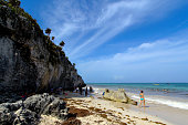 ROO Oct 6 2015 Tourists are seen on a beach in Tulum Quintana Roo state of Mexico on Oct 5 2015 The beaches of Cancun and Tulum have been nominated...