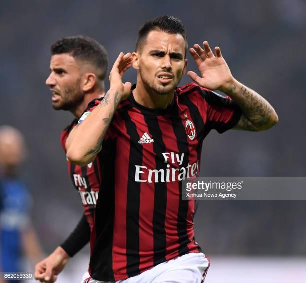 MILAN Oct16 2017 Suso of AC Milan celebrates scoring during the Italian Serie A soccer match between Inter Milan and AC Milan in Milan Italy on Oct...