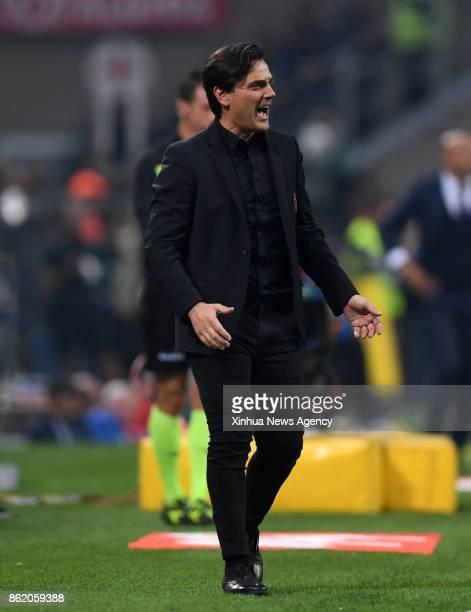 MILAN Oct16 2017 Vincenzo Montella head coach of AC Milan reacts during the Italian Serie A soccer match between Inter Milan and AC Milan in Milan...