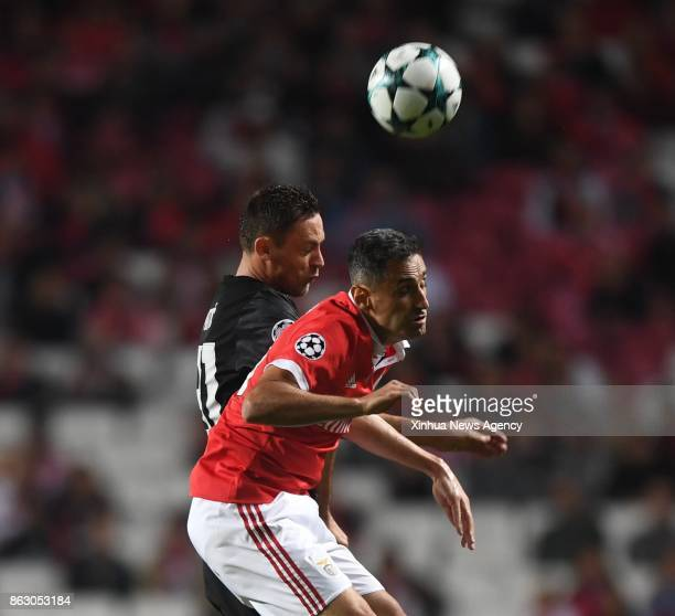 LISBON Oct18 2017 Manchester United's Nemanja Matic vies with Jonas of Benfica during the third round match of Group A of 201718 UEFA Champions...