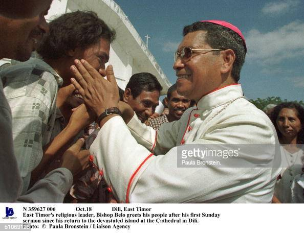 Oct18 Dili East Timor East Timor's Religious Leader Bishop Belo Greets His People After His First Sunday Sermon Since His Return To The Devastated...