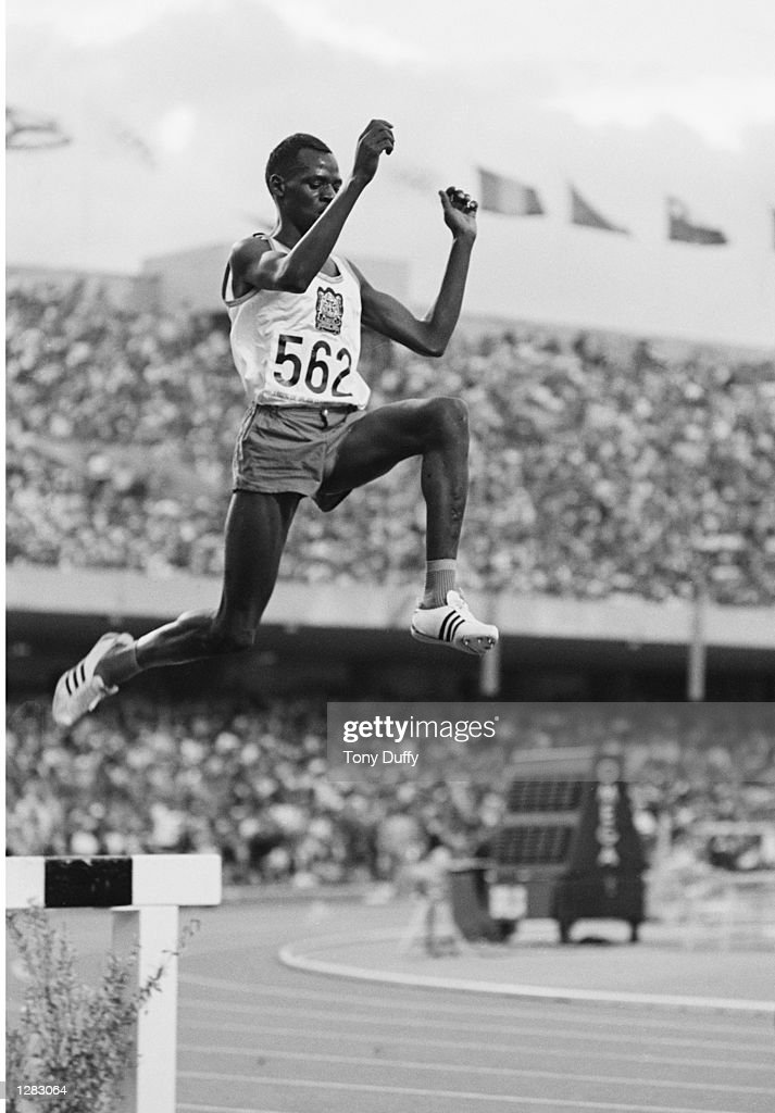Amos Biwott of Kenya in action during the Mens 3000 metres Steeplechase event at the 1968 Olympic Games in Mexico City. \ Mandatory Credit: Tony Duffy/Allsport