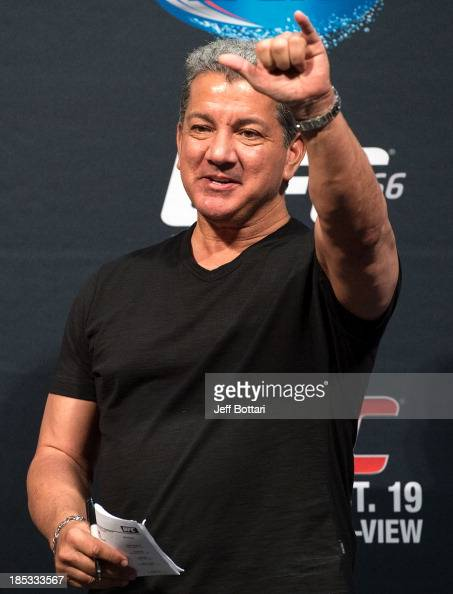 Octagon announcer Bruce Buffer waves to the fans during the UFC 166 weighin at the Toyota Center on October 18 2013 in Houston Texas