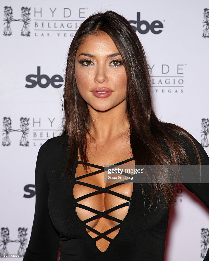 Octagon Girl and model <a gi-track='captionPersonalityLinkClicked' href=/galleries/search?phrase=Arianny+Celeste&family=editorial&specificpeople=4900711 ng-click='$event.stopPropagation()'>Arianny Celeste</a> attends a UFC 194 after party at Hyde Bellagio at the Bellagio on December 12, 2015 in Las Vegas, Nevada.