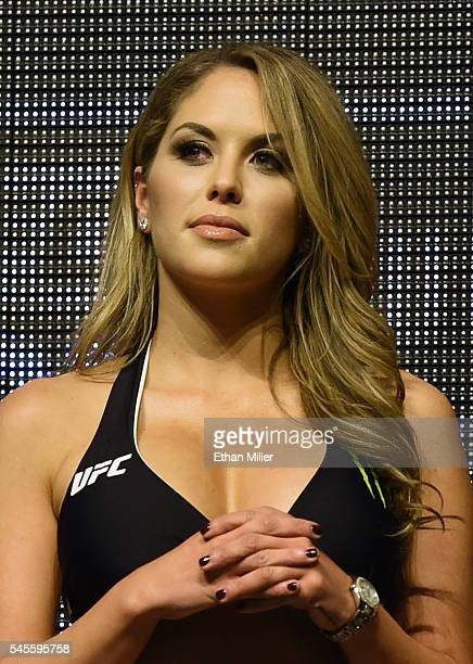 Octagon Girl and model Brittney Palmer attends the weighins for UFC 200 at TMobile Arena on July 8 2016 in Las Vegas Nevada