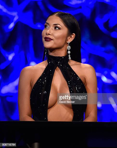 Octagon Girl Arianny Celeste appears on stage during the eighth annual Fighters Only World Mixed Martial Arts Awards at The Venetian Las Vegas on...