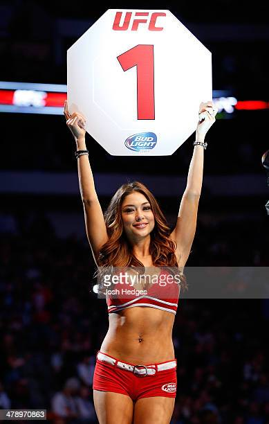 Octagon Girl Arianny Celeste introduces a round at UFC 171 inside American Airlines Center on March 15 2014 in Dallas Texas