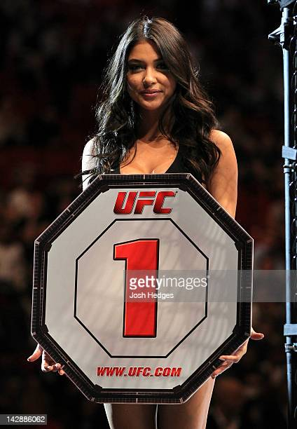 Octagon Girl Arianny Celeste introduces round one before the Pickett v Page bout at the UFC on Fuel TV event at Ericsson Globe on April 14 2012 in...