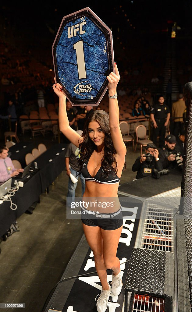 Octagon Girl Arianny Celeste introduces round one of Francisco Rivera and Edwin Figueroa's bantamweight fight at UFC 156 on February 2, 2013 at the Mandalay Bay Events Center in Las Vegas, Nevada.