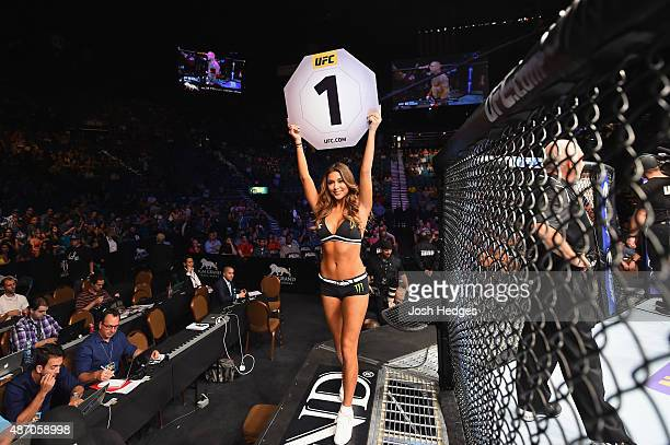 Octagon Girl Arianny Celeste introduces round one of Pearson vs Felder in their lightweight bout during the UFC 191 event inside MGM Grand Garden...