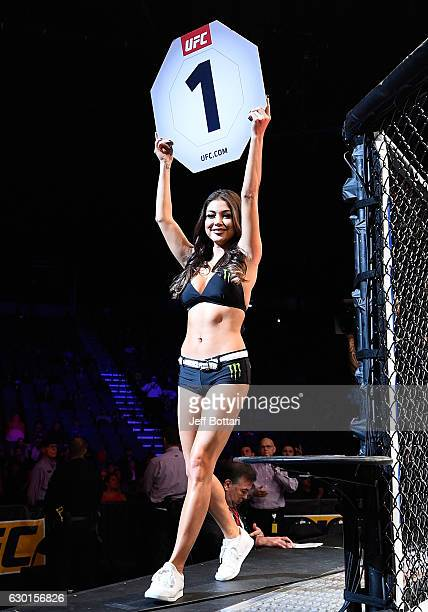 Octagon Girl Arianny Celeste introduces the first round during the UFC Fight Night event inside the Golden 1 Center Arena on December 17 2016 in...