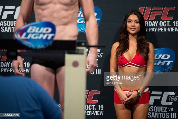Octagon Girl Arianny Celeste stands on stage during the UFC 166 weighin at the Toyota Center on October 18 2013 in Houston Texas