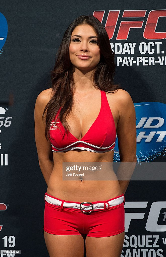 Octagon Girl Arianny Celeste stands on stage during the UFC 166 weigh-in at the Toyota Center on October 18, 2013 in Houston, Texas.