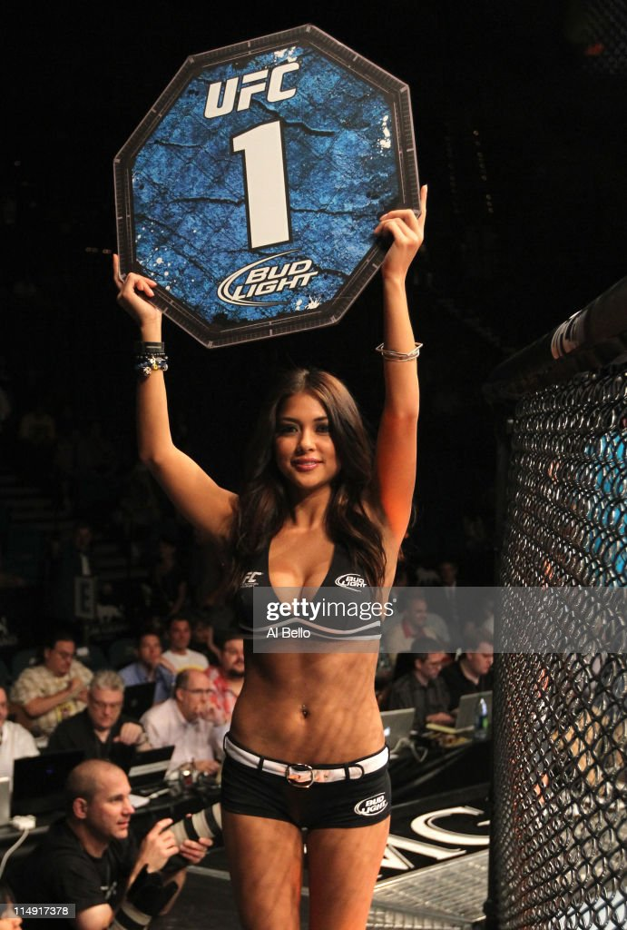 Octagon Girl <a gi-track='captionPersonalityLinkClicked' href=/galleries/search?phrase=Arianny+Celeste&family=editorial&specificpeople=4900711 ng-click='$event.stopPropagation()'>Arianny Celeste</a> walks around the cage at UFC 130 at the MGM Grand Garden Arena on May 28, 2011 in Las Vegas, Nevada.