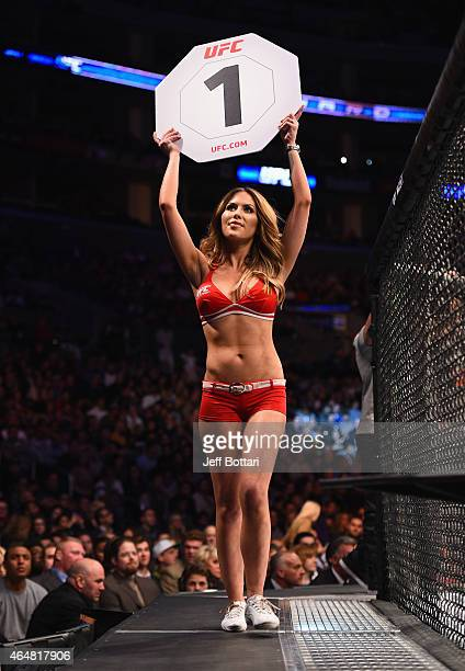 Octagon Girl Brittney Palmer announces round 1 during the UFC 184 event at Staples Center on February 28 2015 in Los Angeles California