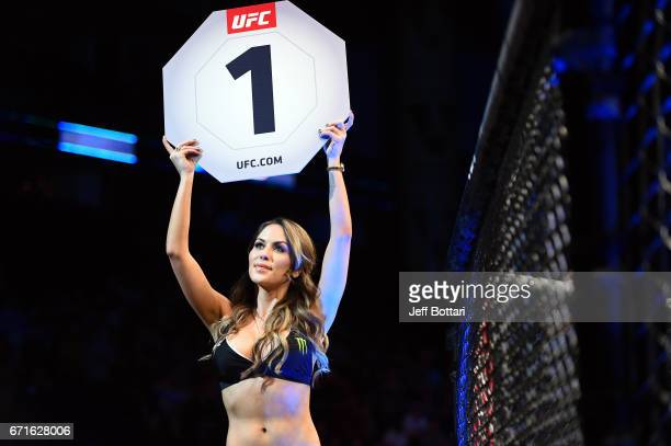 Octagon Girl Brittney Palmer signals the start of round one between Bryan Barberena and Joe Proctor in their welterweight bout during the UFC Fight...
