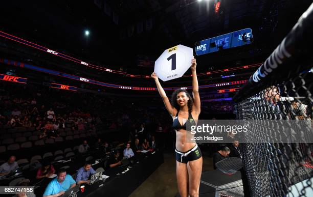 Octagon Girl Brookliyn Wren introduces the first round during the UFC 211 event at the American Airlines Center on May 13 2017 in Dallas Texas