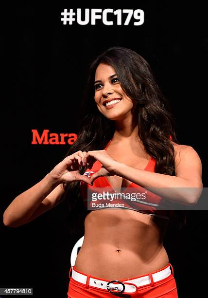Octagon Girl Camila Rodrigues de Oliveira stands on stage during the UFC 179 weighin at Maracanazinho on October 24 2014 in Rio de Janeiro Brazil