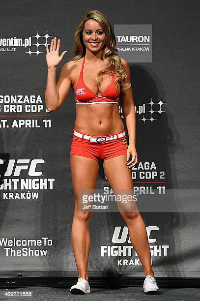 Octagon Girl Carly Baker interacts with the crowd during the UFC Fight Night weighin at the Tauron Arena on April 10 2015 in Krakow Poland