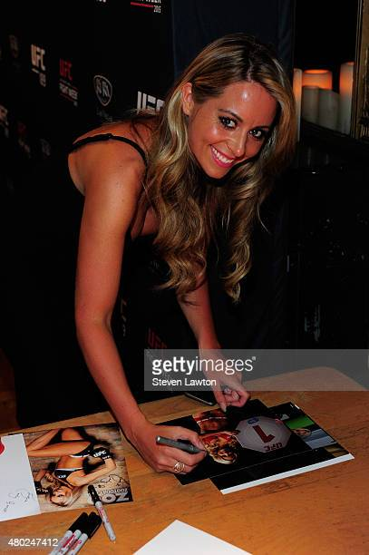 Octagon Girl Carly Baker poses for a photo during a UFC signing as part of the International Fight Week events on July 9 2015 in Las Vegas Nevada