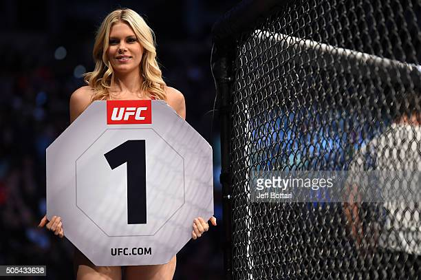 Octagon Girl Chrissy Blair introduces a round during the UFC Fight Night event inside TD Garden on January 17 2016 in Boston Massachusetts