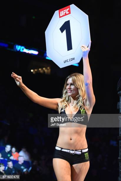 Octagon Girl Chrissy Blair introduces a round during the UFC Fight Night event at Bridgestone Arena on April 22 2017 in Nashville Tennessee